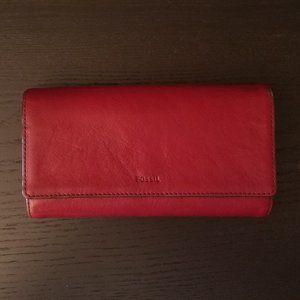Fossil Logan Wallet Dark Red RFID